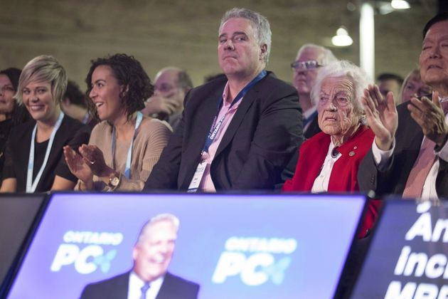 Dean French, former chief of staff to Ontario Premier Doug Ford, listens to the premier speak at the...