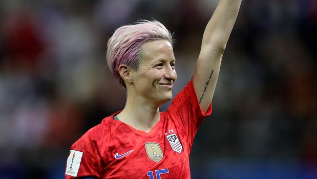 United States' Megan Rapinoe celebrates after the Women's World Cup Group F soccer match between United States and Thailand at the Stade Auguste-Delaune in Reims, France, Tuesday, June 11, 2019. The United States defeated Thailand by 13-0. (AP Photo/Alessandra Tarantino)