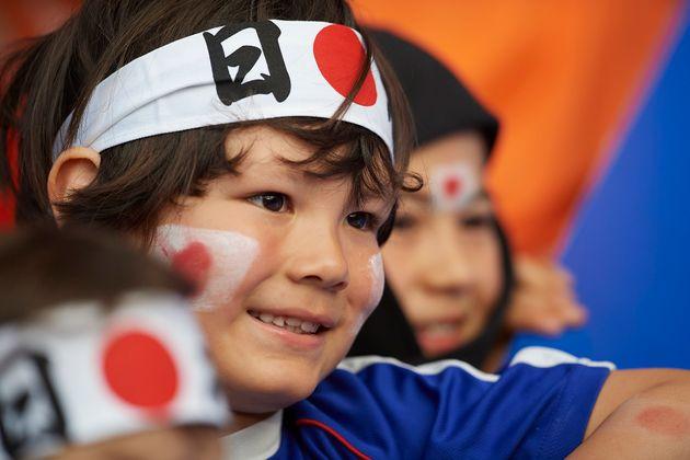 日本チームを応援するサポーター