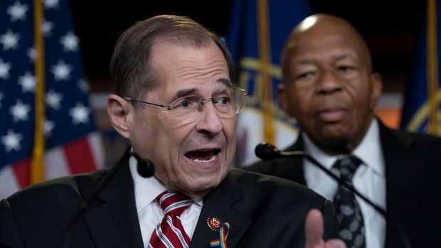 House Judiciary Committee Chairman Jerrold Nadler, D-N.Y., left, joined by House Oversight and Reform Committee Chairman Elijah E. Cummings, D-Md., talks to reporters just after passage of a resolution to take legal action against President Donald Trump's administration and potential witnesses, a response to those who defy subpoenas in Congress' Russia probe and other investigations, on Capitol Hill in Washington, Tuesday, June 11, 2019. The House resolution would authorize lawsuits against Attorney General William Barr and former White House counsel Don McGahn for defying subpoenas pertaining to special counsel Robert Mueller's report. (AP Photo/J. Scott Applewhite)