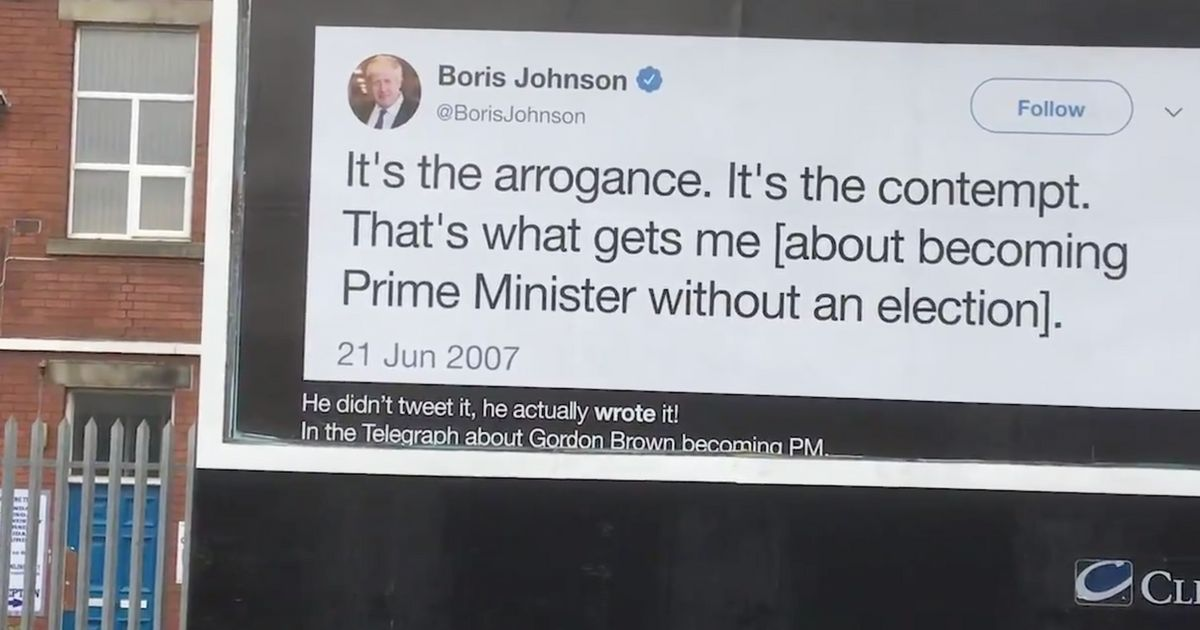 Boris Johnson Accused Of 'Thermonuclear Hypocrisy' In Latest Led By Donkeys Billboard