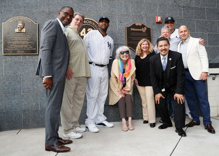 Representatives of the the Stonewall Inn and the New York Yankees honored the 50th anniversary of the Stonewall Inn Uprising