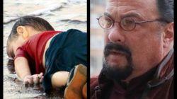 Ο Στίβεν Σιγκάλ στα γυρίσματα της ταινίας για τον μικρό Αϊλάν στην