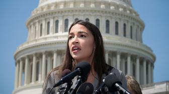 Rep. Alexandria Ocasio-Cortez, D-N.Y., speaks at a news conference with Democratic presidential candidate, Sen. Bernie Sanders, I-Vt., to call for legislation to cancel all student debt, at the Capitol in Washington, Monday, June 24, 2019. (AP Photo/J. Scott Applewhite)