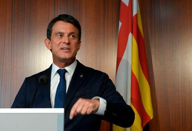 Manuel Valls lors d'une conférence de presse à Barcelone le 19 juin