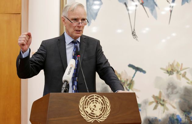 Philip Alston, the U.N.'s special rapporteur on extreme poverty and human rights, attends a news conference...