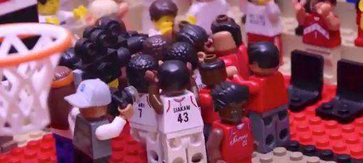 A screengrab from Jared Jacobs' Lego version of Kawhi Leonard's buzzer-beater against Philadelphia.