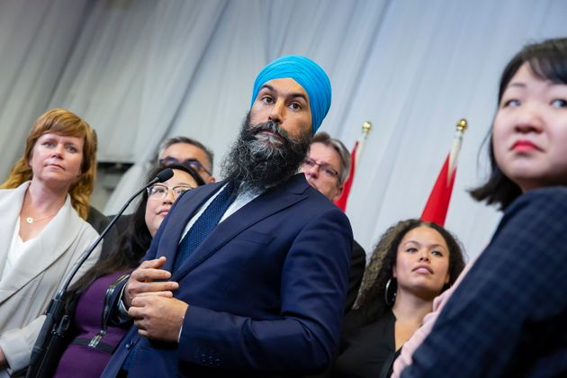 NDP Leader Jagmeet Singh speaks to the media following a speech at the Ontario NDP Convention in Hamilton,...
