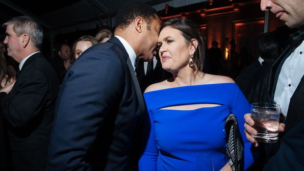 WASHINGTON, DC - APRIL 28: Don Lemon (left) chats with White House Press Secretary Sarah Huckabee Sanders at the Organization of the American States for the annual NBC News & MSNBC White House Correspondents Dinner After Party on April 28 (Kate Warren for The Washington Post via Getty Images).
