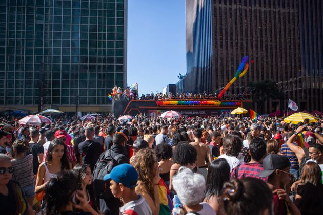 Crowds swarmed the Avenida Paulista in São Paulo on Sunday for the first Pride parade since the...