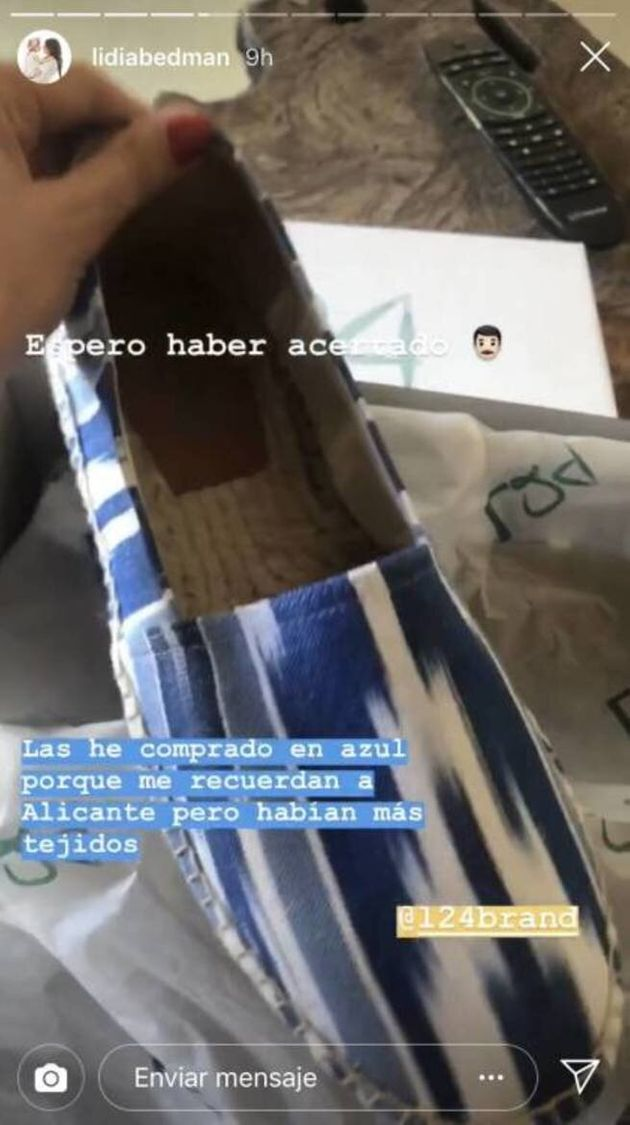 Captura de un 'stories' tomada del perfil de Instagram de Lidia Bedman, pareja de Santiago