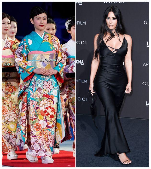 킴 카다시안이 새로 출시한 보정속옷에 '기모노'라는 이름을 붙여