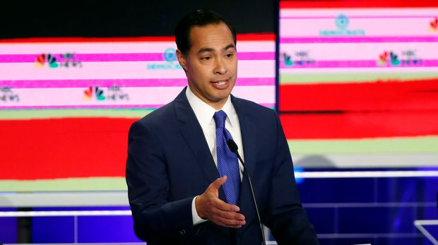 Democratic presidential candidate former Housing and Urban Development Secretary Julian Castro speaks during a Democratic primary debate hosted by NBC News at the Adrienne Arsht Center for the Performing Art, Wednesday, June 26, 2019, in Miami. (AP Photo/Wilfredo Lee)