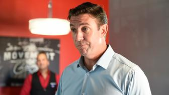 U.S. Rep. Duncan Hunter, R-Calif., speaks during an interview at a call center on Tuesday Nov. 6, 2018, in Santee, Calif. Hunter faces Democratic candidate Ammar Campa-Najjar in the race for Southern California's 50th district. (AP Photo/Denis Poroy)