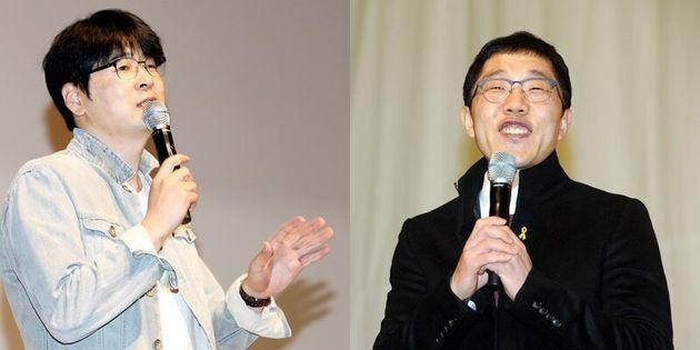 왼쪽부터 탁현민 자문위원, 방송인