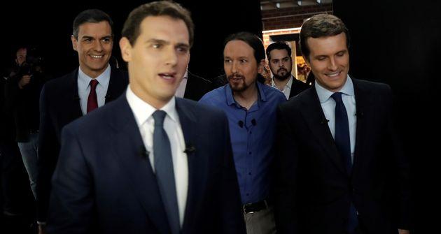Imagen de archivo de Sánchez, Rivera, Iglesias y Casado a su llegada al debate electoral de