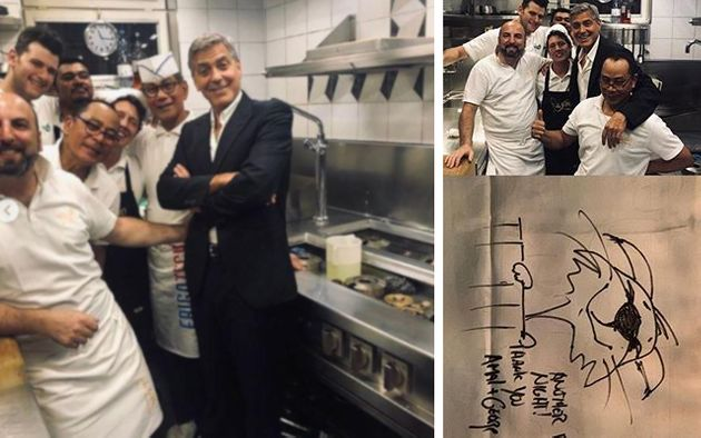 George Clooney a Venezia con Amal sorride in cucina con gli chef: