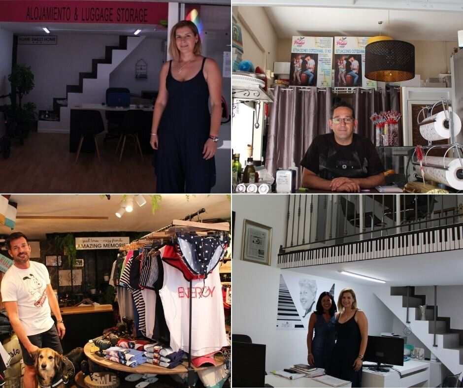 (De izq a dcha): Daniela, dueña de los apartamentos Aladín; Carlos, dueño de la...