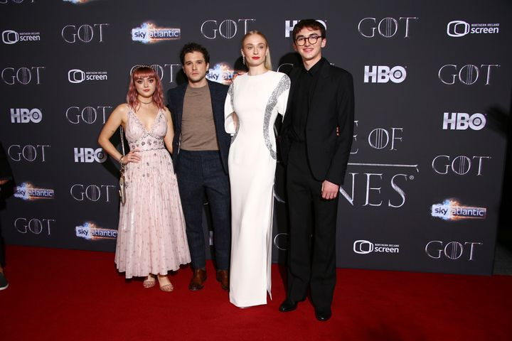 "Maisie Williams, Kit Harington, Sophie Turner and Isaac Hempstead Wright at the Season 8 premiere of ""Game of Thrones"" in Bel"