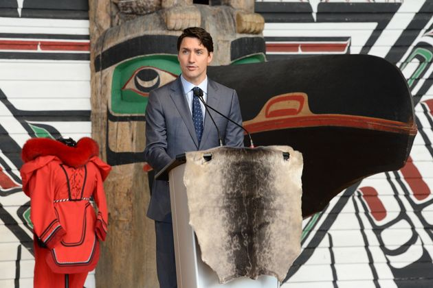 Prime Minister Justin Trudeau speaks during ceremonies marking the release of the Missing and Murdered...
