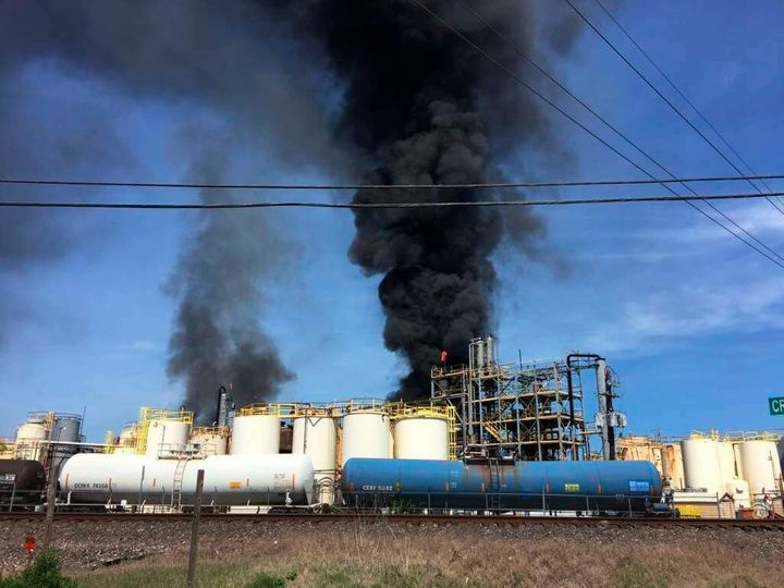 This photo taken by the Harris County Fire Marshal's Office shows the KMCO Chemical plant on fire Tuesday, April 2, 2019, in