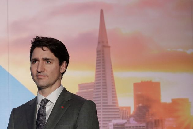 Prime Minister Justin Trudeau waits to speak at the AppDirect office in San Francisco on Feb. 8,