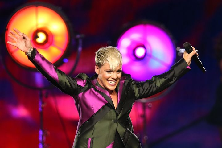Pink performs on stage at Perth Arena in July 2018 in Perth, Australia.