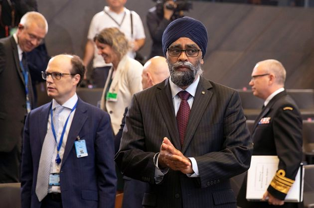 Harjit Sajjan attends a meeting at NATO headquarters in Brussels on June 27,