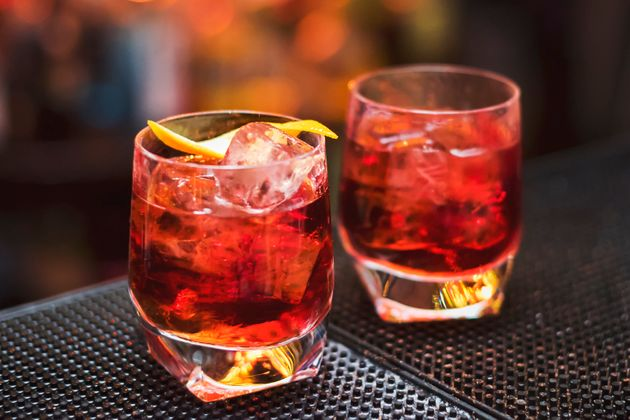 Classic Negroni cocktail on the black bar