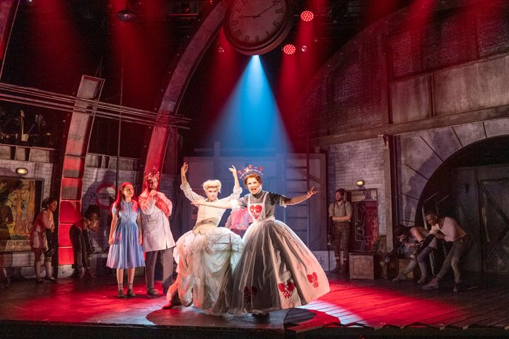 """Noah Galvin (right) as the Duchess in Steven Sater and Duncan Sheik's musical """"Alice by Heart."""""""