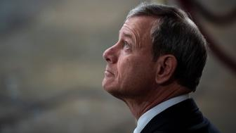WASHINGTON, DC - DECEMBER 3 : Supreme Court Chief Justice of the United States John G. Roberts, Jr. waits for the arrival of Former president George H.W. Bush to lie in State at the U.S. Capitol Rotunda on Capitol Hill on Monday, Dec. 03, 2018 in Washington, DC. (Photo by Jabin Botsford/Pool)