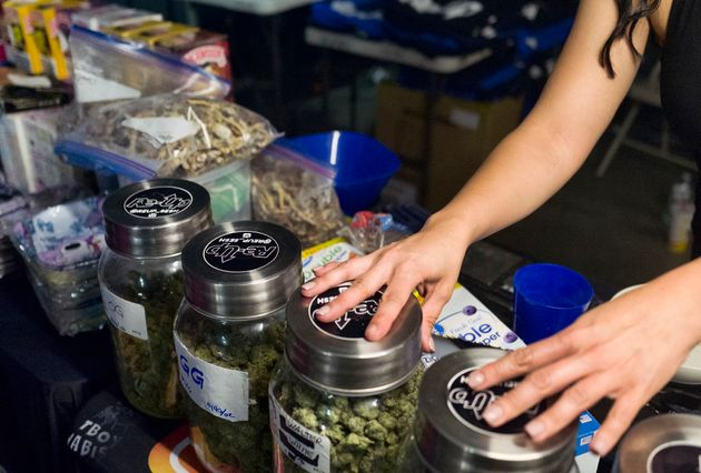 Bags of psilocybin mushrooms displayed alongside cannabis at a pop-up cannabis market in Los