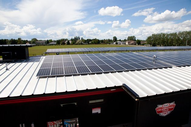 Solar panels are shown on top of a municipal building in Raymond, Alta., in this recent handout