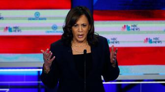 Democratic presidential candidate Sen. Kamala Harris, D-Calif., speaks during the Democratic primary debate hosted by NBC News at the Adrienne Arsht Center for the Performing Arts, Thursday, June 27, 2019, in Miami. (AP Photo/Wilfredo Lee)