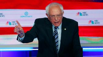 Democratic presidential candidate Sen. Bernie Sanders, I-Vt., speaks during the Democratic primary debate hosted by NBC News at the Adrienne Arsht Center for the Performing Arts, Thursday, June 27, 2019, in Miami. (AP Photo/Wilfredo Lee)
