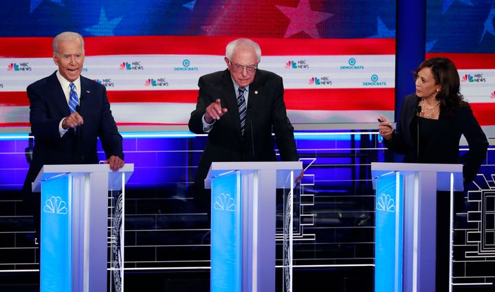 Former Vice President Joe Biden, Sen. Bernie Sanders (I-Vt.) and Sen. Kamala Harris (D-Calif.) at the Democratic primary deba