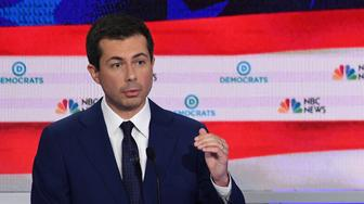 Democratic presidential hopeful Mayor of South Bend, Indiana Pete Buttigieg speaks during the second Democratic primary debate of the 2020 presidential campaign season hosted by NBC News at the Adrienne Arsht Center for the Performing Arts in Miami, Florida, June 27, 2019. (Photo by SAUL LOEB / AFP) / ALTERNATIVE CROP        (Photo credit should read SAUL LOEB/AFP/Getty Images)
