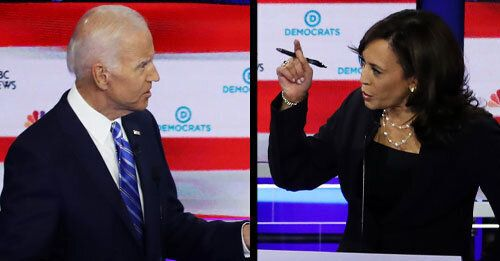 Sen. Kamala Harris (D-Calif.), right, pushed former Vice President Joe Biden to talk about his past stance on busing.