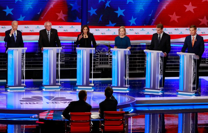 Former Vice President Joe Biden may have stood at the center of the debate stage on Thursday night, but it was Sen. Kamala Ha