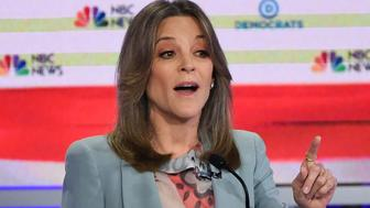 Democratic presidential hopeful US author and writer Marianne Williamson participates in the second Democratic primary debate of the 2020 presidential campaign season hosted by NBC News at the Adrienne Arsht Center for the Performing Arts in Miami, Florida, June 27, 2019. (Photo by SAUL LOEB / AFP)        (Photo credit should read SAUL LOEB/AFP/Getty Images)