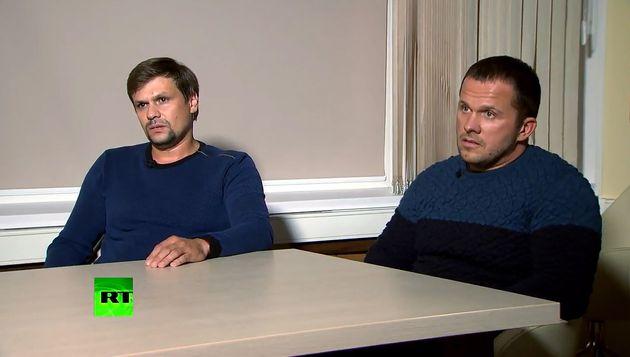 Alexander Petrov (L) and Ruslan Boshirov, suspected of poisoning former GRU officer Sergei Skripal and...