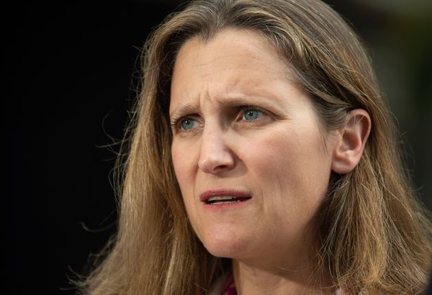 Foreign Affairs Minister Chrystia Freeland responds to a question during her media availability at the...