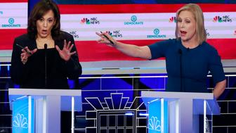 Democratic presidential candidate Sen. Kristen Gillibrand, D-N.Y., right, interrupts Sen. Kamala Harris, D-Calif., during the Democratic primary debate hosted by NBC News at the Adrienne Arsht Center for the Performing Arts, Thursday, June 27, 2019, in Miami. (AP Photo/Wilfredo Lee)