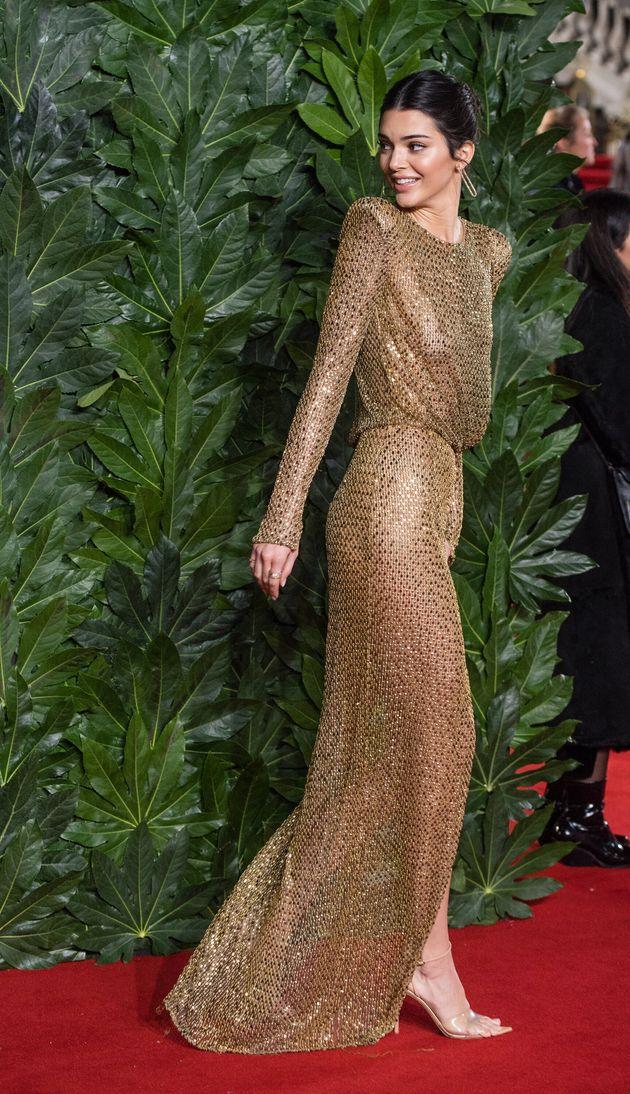 Η Κένταλ Τζένερ στοBritish Fashion Awards τον Δεκέμβριο του 2018