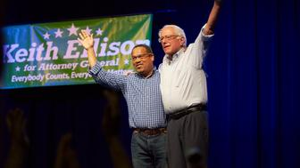 MINNEAPOLIS, MN JULY 13: US Senator Bernie Sanders & US Rep Keith Ellison at the Keith Ellison rally at First Avenue on July 13, 2018 in Minneapolis, Minnesota. Credit: Tony Nelson /MediaPunch /IPX