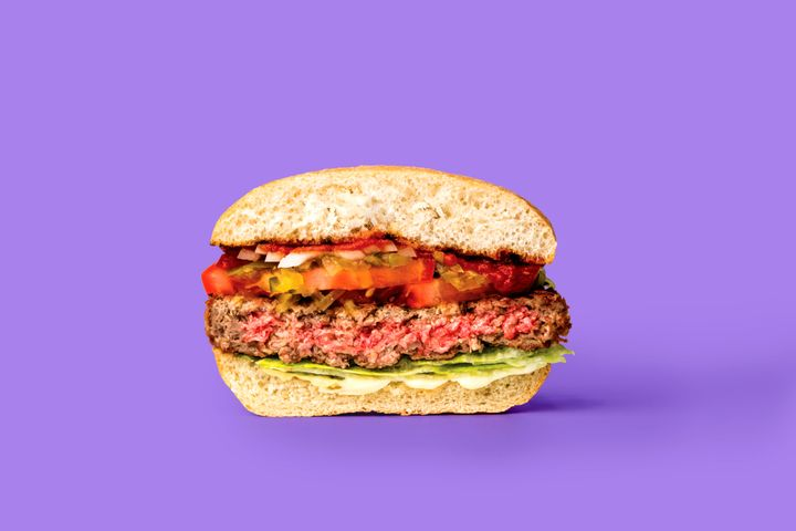 The Impossible Burger's plant-based protein features a shade of pink you'd find in a medium-rare beef burger.