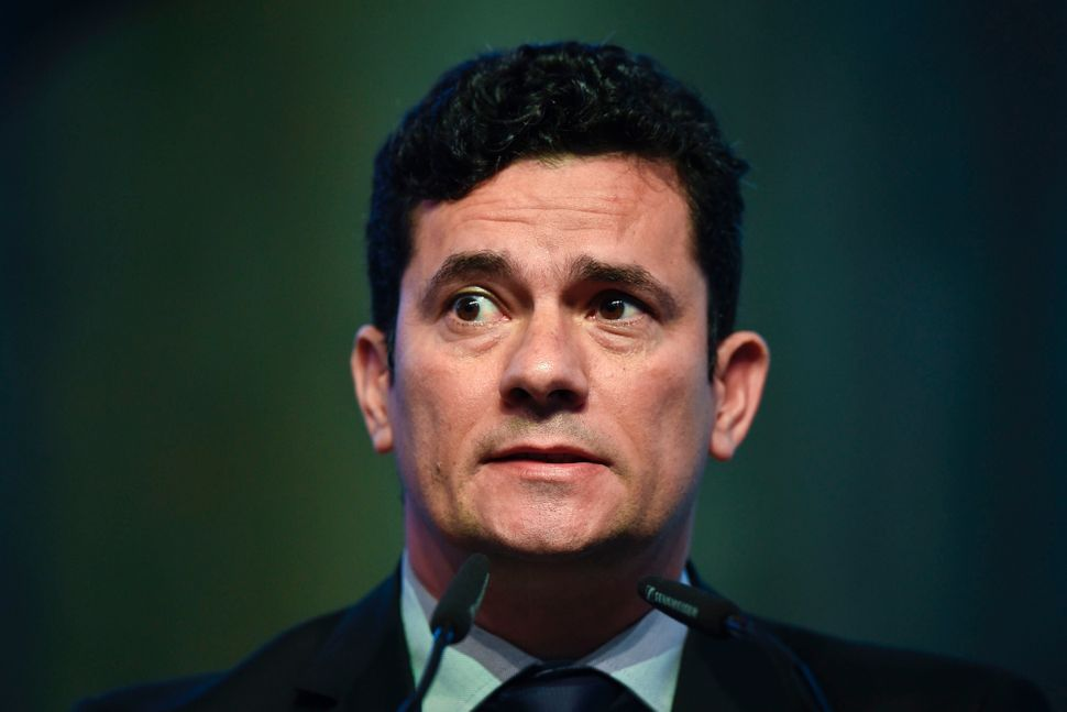 Brazilian Judge Sergio Moro delivers a speech at a conference in Estoril, on the outskirts of Lisbon,...