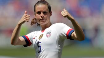 Kelley O'Hara, a defender for the United States women's national team, which is headed to the FIFA Women's World Cup, is introduced for fans during a send-off ceremony following an international friendly soccer match against Mexico, Sunday, May 26, 2019, in Harrison, N.J. The U.S. won 3-0. (AP Photo/Julio Cortez)