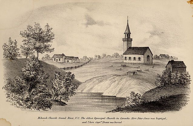 An engraving of the Mohawk Chapel near the Grand River in what's now Brantford, Ont. The engraving was in a book by Nahneebahweequay's uncle and reverend Peter Jones published in 1861.