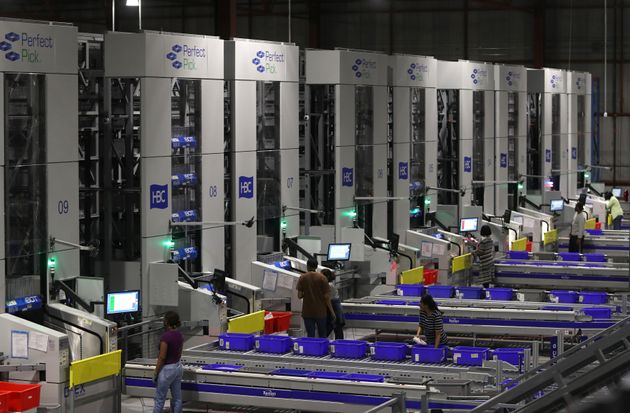 An automated system at the Hudson's Bay Company distribution centre in Toronto, May 29,